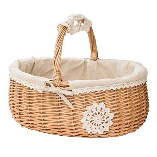 LinaXin Weidenkorb-Picknick-Handgewebtes Einkaufen-Speicher-Frucht-SüßIgkeits-Hauptdekoration-Tragbarer Korb,White,36 * 29 * 16 -