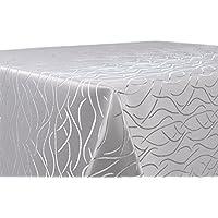 Tischdecke, FARBE wählbar, Streifen Damast Textil, Bügelfrei, Rund 160 cm, Silber