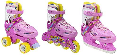 Inline Skates Kinder | NILS| Inliner 3in1 | Verstellbare Schlittschuhe Rollschuhe Größenverstellbar | Pink- Blau -Gelb | Größen 27-38 (Pink, 35-38)