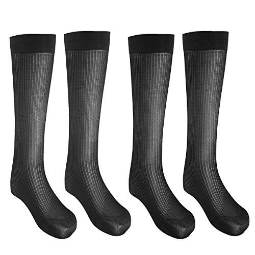 Freebily 2/3 Paar Männer dünne Socken Herren Seiden Socken Sommer Beiläufig Kleid Socken Strümpfe Arbeitssocken Sportsocken Socks Transparent Schwarz 2 Paar -