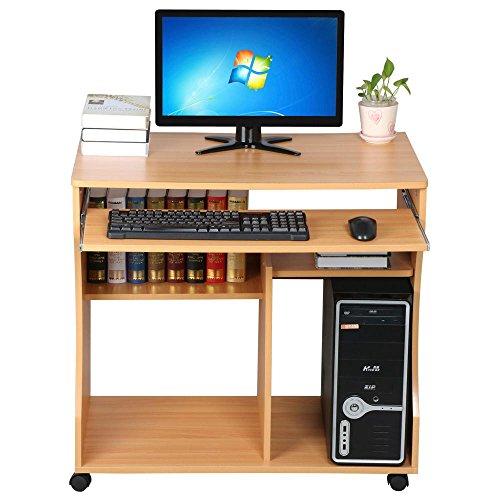 Yaheetech Scrivania Computer con libreria per Cameretta Studio Ufficio Potra pc Mobile con 4 Ruote (Colore di Legno)