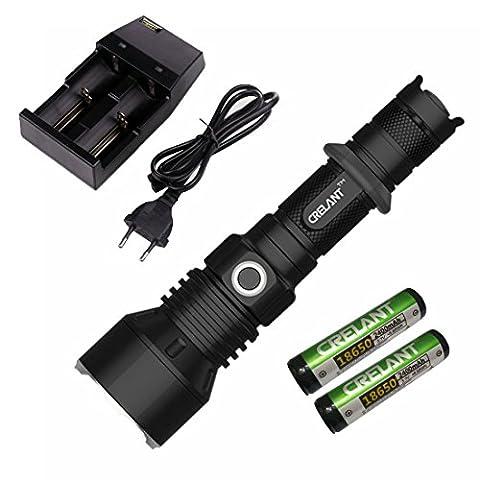 CRELANT 7T40 EDC Lampe De Poche LED Tactique Torche CREE XM-L2 1052 Lumens Ultra-Brillante Répondant à La Norme IPX8 Imperméable Compact Taille (7T40 Neutral White+CD80+2400*2)