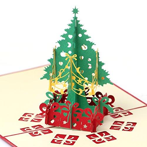 zhenhiu 3d buon Natale Biglietti di auguri carta taglio diy carta spessa (2pezzi)
