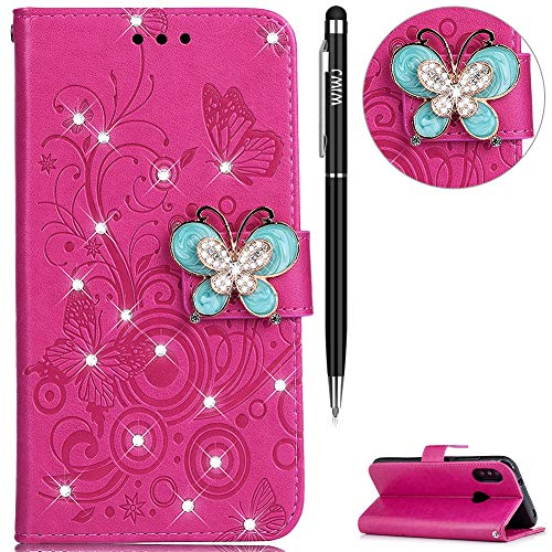 Price comparison product image For Xiaomi Redmi 6 Pro Case, WIWJ Glitter Butterfly Diamond Rhinestone Flip PU Leather Case, 3D Butterfly Magnetic Diamond Buckle with Stand Wallet Card Holder For Xiaomi Redmi 6 Pro-Rose Red