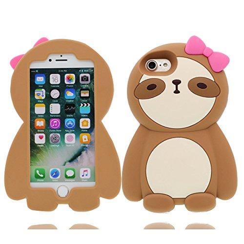 iPhone 7 Plus Custodia, Gel TPU Soft flessibile protettivo indietro leggero Case Cover Skin Bumper iPhone 7 Plus Copertura, Graffi Prova & elegante ( Cartoon Shell coniglio carota ) Marrone 2