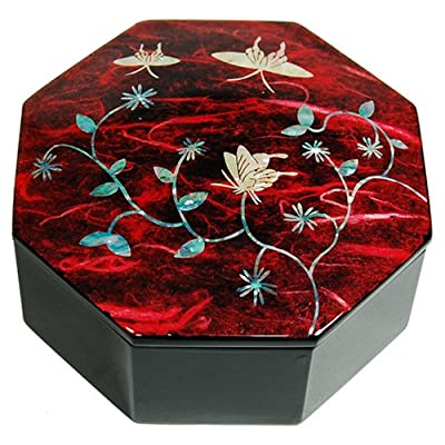 Wooden mother of pearl jewellery box, lacquer keepsake box, octagonal shape red butterfly. Handmade oriental gift. from Silver J