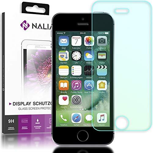 NALIA Schutzglas kompatibel mit iPhone SE / 5 / 5S / 5C, Full-Cover Displayschutz Handy-Folie, 9H gehärtete Glas-Schutzfolie Bildschirm-Abdeckung, Schutz-Film Clear HD Screen Protector - Transparent