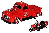 Ford F-1 Pick-Up 1948 Rot mit 1936 El Knucklehead Harley Davidson 1/24 Maisto Modell Auto
