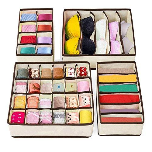 Set mit 4 faltbaren Schubladen-Organisern, zusammenklappbare Schrank-Teiler für Unterwäsche, BHs, Krawatten, Taschentücher, in Beige (Organisatoren X 8 7 Schublade)