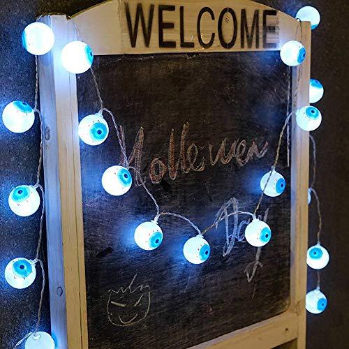 Dream Loom Halloween Lichterketten, 2.5m batteriebetriebene Augapfel-Schnur-Licht-Lampen enthält 20 LED-Geist-Augen, Für Zuhause, Festival, Partydekorationen(Weiß) …