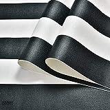 ZCHENG Schwarz-Weiß-tiefgeprägte vertikale Streifen-Tapete für Wände 3 D minimalistische Entwürfe strömten Streifen-Tapeten modern