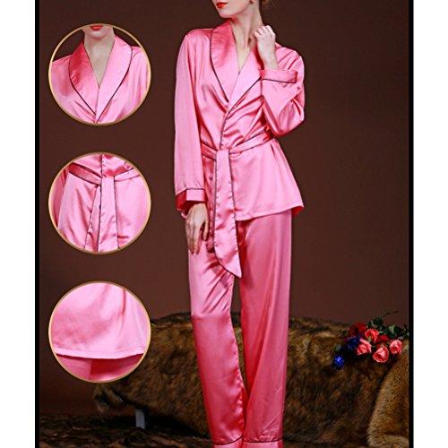 Zhhlinyuan Womens Satin Silk Lace Long Sleeve Nightwear Sleepwear Pajama Set K02 Watermelon Red