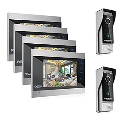TMEZON 7 Inch Color LCD Touch Button Video Door Phone Doorbell Intercom Entry System Kit 4-Monitor 2-Camera Night Vision,Support Recording/Snapshot