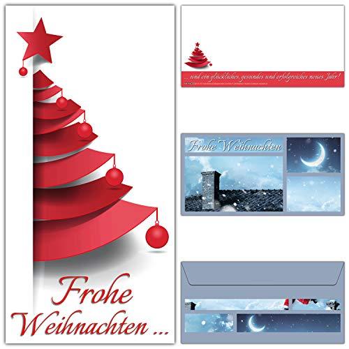 Weihnachtskarten mit Umschlägen (12er Set) - modernes Weihnachtsbaum Design für Privat und Geschäft - edle Frohe Weihnachten Karten von BREITENWERK