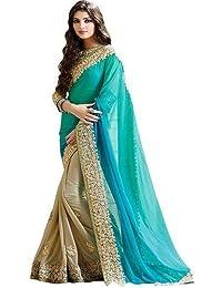 SAT Creation Women Lycra Turquoise Colour Designer Saree_ SE_Sargam_Cyan_Sari