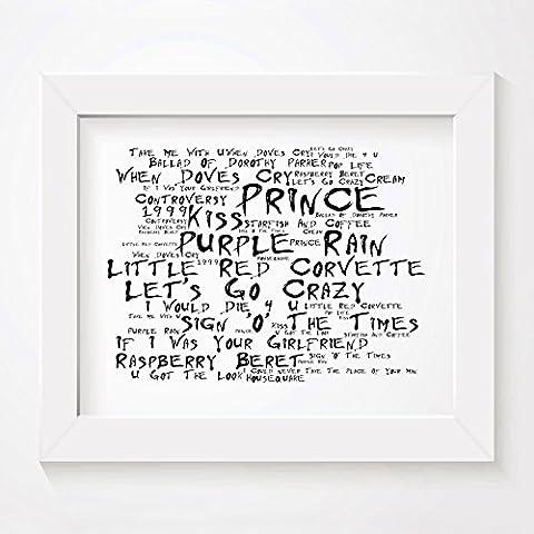 'Noir Paranoiac` Poster Affiche d'art - PRINCE - Edition signée et numérotée limitée typographie non encadré 20 x 25 cm la musique album mur art haute qualité d'impression - Song lyrics music poster
