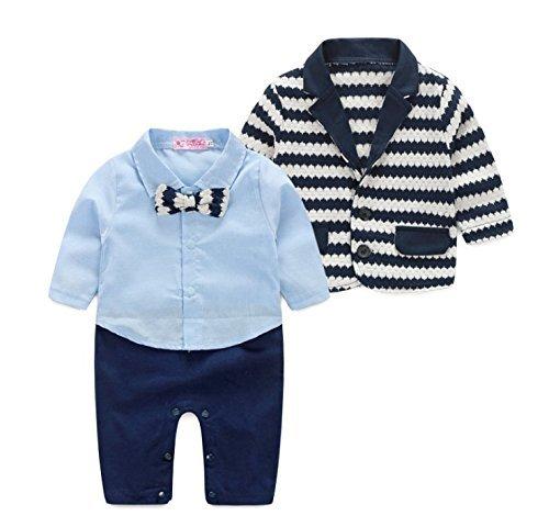 [Babyanzug für Jungen]Gentleman Bekleidungsset Baumwolle Babyanzug Langarm +Weste+Lange Hose Sommer Anzug Festliche Kleidung für Kleinkind-04B-80