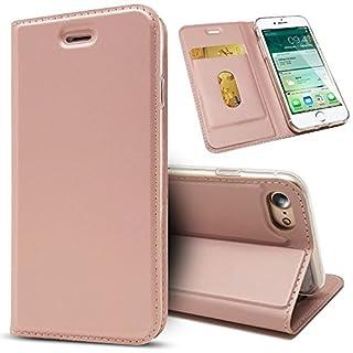 NALIA Klapphülle für Apple iPhone 8/7, Slim Kickstand Handyhülle Flip-Case Kunstleder Cover mit Magnet Etui Ganzkörper Schutz Dünne Rundum Handy-Tasche Bumper für i-P 7/8, Farbe:Rose Gold