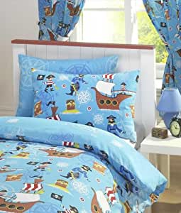 rideau chambre enfant motif tresor de pirate bateau fond bleu garcon 168 x 183cm. Black Bedroom Furniture Sets. Home Design Ideas