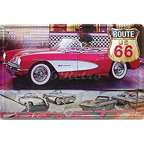 1957 Chevrolet Corvette Convertible, Metal Tin Sign, adorno de pared decoración de estilo vintage, tamaño 8