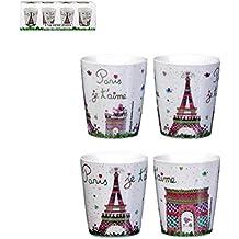 Paris je T'Aime juego de 4 tazas de café