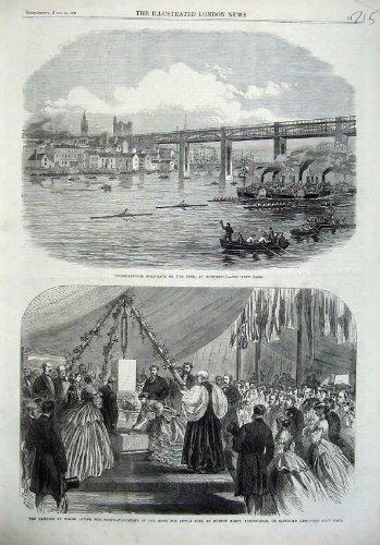 1866 Antique Print (Prinz 1866 Regatta Tyne-Newcastle Wales Horton Kirby)