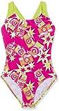 Speedo Wizzy Flash Allover Splashback, Costume da Bagno Bambine e Ragazze, Fuxia/Lime/Bianco, 9-10 Anni