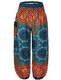 BaiShengGT Hippie Kleidung Damen, Damen Pumphose Haremshose Blumenmuster Lange Boho Hose Casual Grün 1 Large