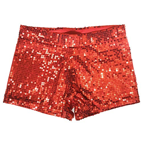 Hots Kostüm Red - Damen Clubwear Pailletten Funkelnde Taille Shorts Mini Hot Pants DS Pole Dance Kostüm,Red,M