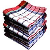 Space Fly Premium Quality, Highly Absorbent Big Size 20X20inch 100% Cotton Multipurpose Kitchen, Chapatis Napkin and cleaning, Cloth, Duster (10 pieces_Multi Color Striped)