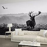 ADLFJGL 3D Nordische Große Wandgemälde Tapete Retro Schwarz Weißer Hirsch Persönlichkeit Art Sofa Tv Hintergrund Mauer 250 × 175Cm Wallpaper