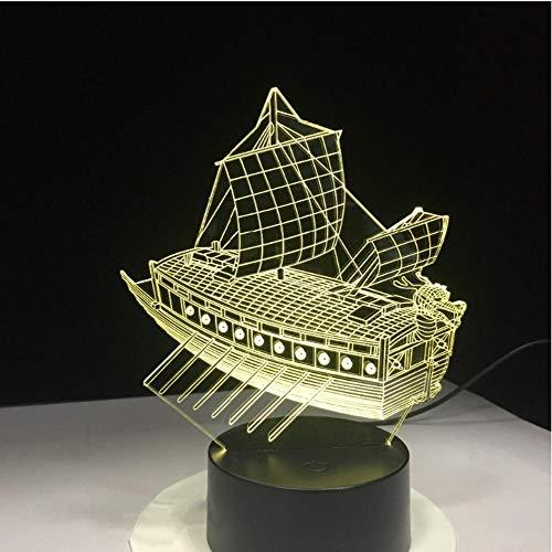 JSIYU 3d nachtlicht Altes Nachtlicht des Segelboot-3D, Farbe LED 7, die USB-Stereolampe, Wohnzimmer ändert, beleuchtet Energielampe, Lichter der Kinder, bunte Lichter LED, Weihnachtsgeschenk A