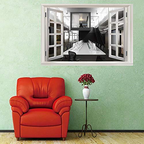Neue 3D-Mode Dekoration Konferenztisch Hintergrund Schlafzimmer Wandaufkleber abnehmbare selbstklebende DIY wasserdichte gefälschte Fensteraufkleber...