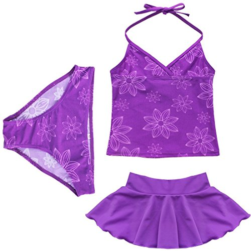 iEFiEL-Girls-3pcs-Floral-Swimwear-Tankini-Swimming-Dress-Costume-Beachwear
