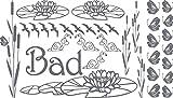 Graz Design Wandtattoo Badezimmer Bad Vögel Seerosen Schilf | maritimes Set Bad-Tattoo für Fliesen - Wände - Tür (100x57cm//071 grau)