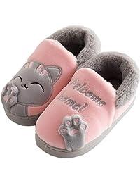 Peluche Pantofole di Gatto per Bambine e Ragazze Pantofole Invernali Autunno da Interno Casa Cotone Scarpe Animale Antiscivolo Ultra-Leggero per Donne Uomini
