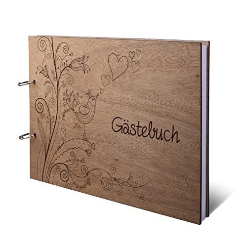 Hochzeit Gästebuch Okoume Holz Lasergravur Holzcover 144 Naturpapier Innenseiten DIN A4 quer 302 x...