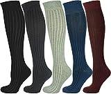 Mysocks calcetines largos lisos Costilla rojo 5 pares