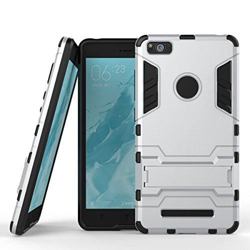 Hülle für Xiaomi Mi 4C (5 Zoll) 2 in 1 Hybrid Dual Layer Shell Armor Schutzhülle mit Standfunktion Case (Silber)