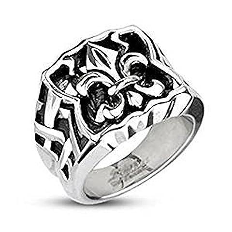 SIZE 12 ( Y ) Wide Edge Fleur De Lis 17mm Width Cast Surgical Steel Band Ring