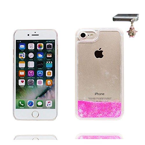 iPhone 7 Plus Custodia, iPhone 7 Plus Copertura, Bling liquido fluido trasparente in silicone durevole Cartoon Cover & tappi antipolvere - Tacchi alti Slivery ( Case Per iPhone 7 Plus 5.5 ) Rosa