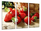 Cuadro Moderno Fotografico Comestibles, Cocina, Fruteria,Fruta Acida Cesta de Fresas, 97 x 63 cm, Ref. 27013