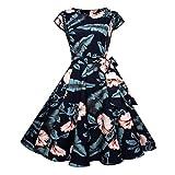 OVERDOSE Damen Blumen Vintage 1950er Ärmellos Casual Abend Partei Abschlussball Schwingen Kleid Cocktailkleid Rockabilly Kleid