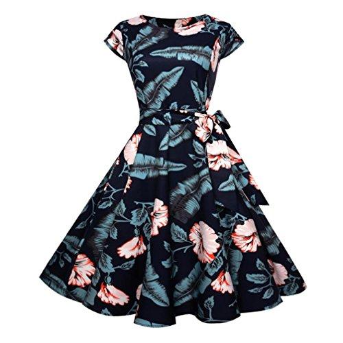OVERDOSE Damen Blumen Vintage 1950er Ärmellos Casual Abend Partei Abschlussball Schwingen Kleid Cocktailkleid Rockabilly Kleid (Jahren Flapper-hut 1920er)