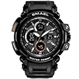 SMAEL Mens Sports Watch, Fashion New Design Watch Analog Digital Watch Sports Wristwatch Military Watch (Black)