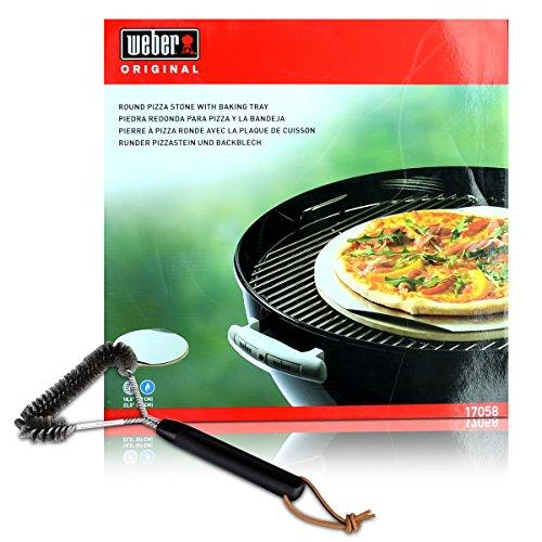 Weber Grill Set Dreiseitige Grillbürste 30 cm - Weber 17058 Runder Pizzastein und Backblech