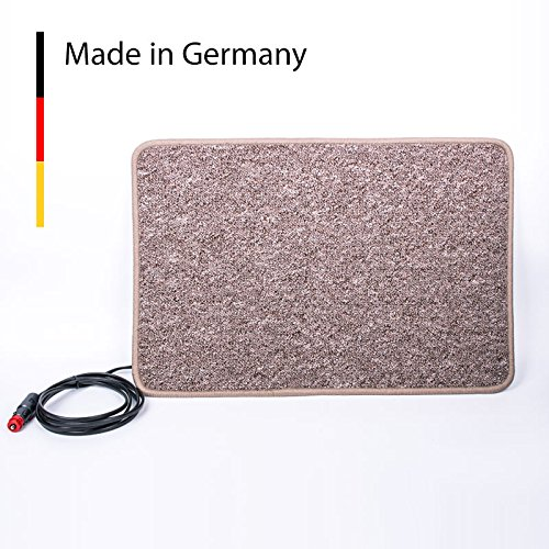Carbest Heizteppich 12V, 60×40 cm, braun, 25 Watt Wärmematte für Wohnwagen und Wohnmobil