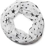 styleBREAKER seidiger Sterne Muster Loop Schlauchschal, Crash and Crinkle, Unisex 01016093, Farbe:Weiß-Schwarz