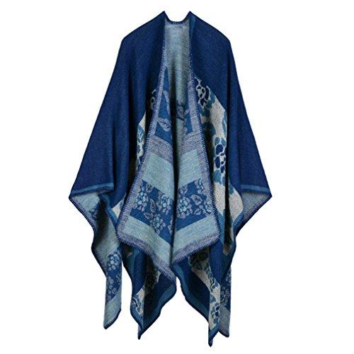 Honghu Cape Poncho Femme Tricot,Poncho Capes Châle Ouverture Extra Large écharpe Châle Poncho Automne Hiver Bleu foncé 1