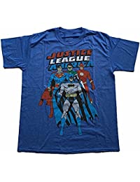 JUSTICE LEAGUE OF AMERICA - (BATMAN,SUPERMAN,FLASH,GREEN LANTERN) - RED, WHITE AND BLUE - OFFICIAL MENS T SHIRT
